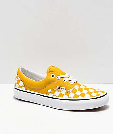 Vans Era Checkerboard Yolk Yellow Skate Shoes