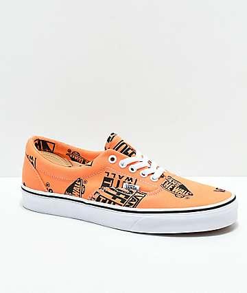 Vans Era Logo zapatos de skate de color naranja y negro