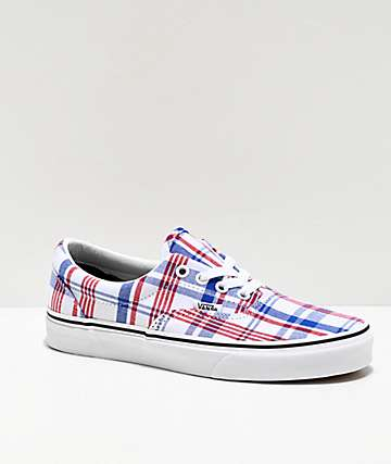 Vans Era Plaid Blue, Red & True White Skate Shoes