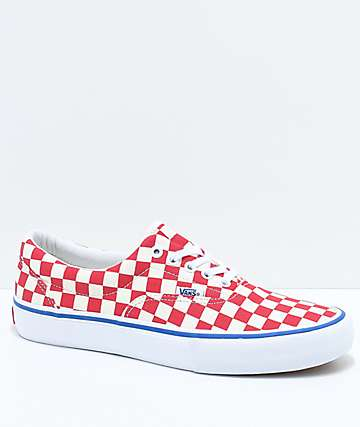 e6d9ae8db6d Vans Era Pro Rococo Red   Off-White Checkered Skate Shoes