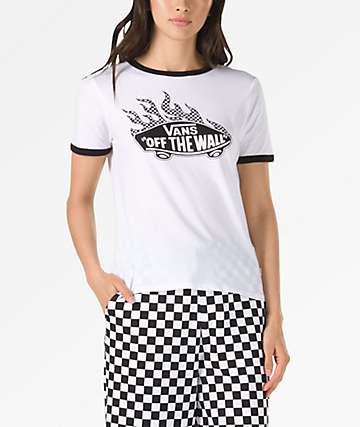 Vans Flame Check OTW White Ringer T-Shirt