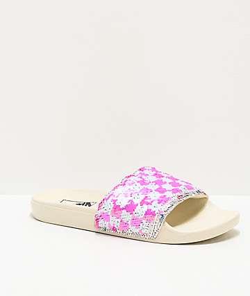 Vans Flipping Sequins Silver, Pink & White Slide Sandals