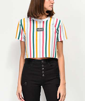 80458579e444e8 Vans Front Row Vertical Striped Crop T-Shirt