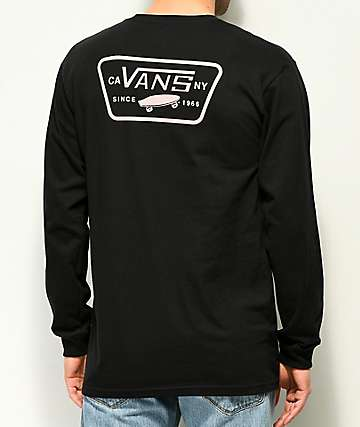 Vans Full Patch Black & Violet Long Sleeve T-Shirt
