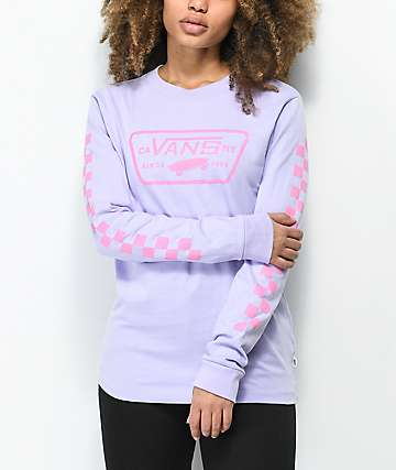 Vans Full Patch Checkerboard Lavender Long Sleeve T-Shirt