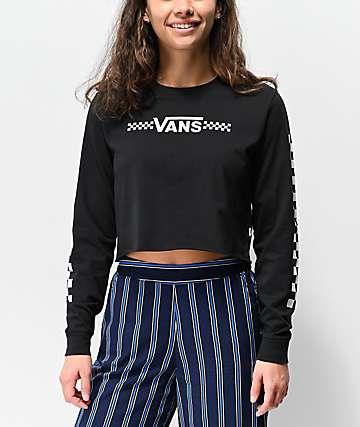 Vans Funnier Times Black Long Sleeve Crop T-Shirt