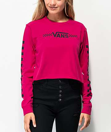 Vans Funnier Times Pink Long Sleeve Crop T-Shirt