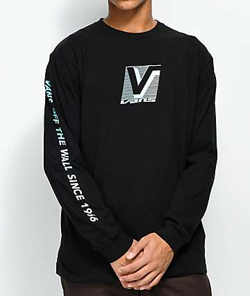 Vans Grand Black & Blue Long Sleeve T-Shirt