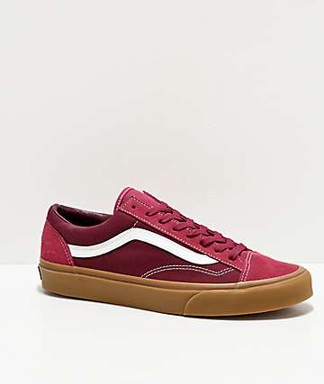 Vans Gum Style 36 Beet Red & Port Royale Skate Shoes