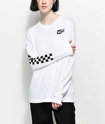 Vans Half Checked Long Sleeve White T-Shirt