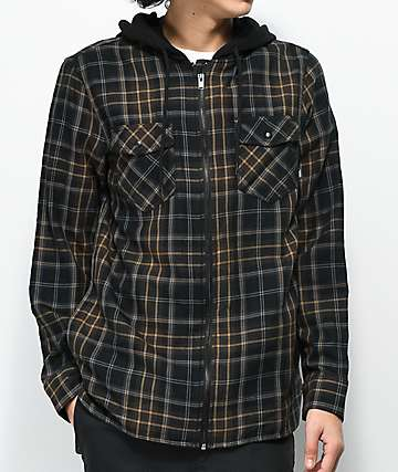 Vans Higgins Black & Brown Hooded Flannel Shirt