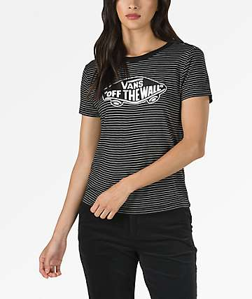 Vans Highlands Black and White Stripe Short Sleeve T-Shirt