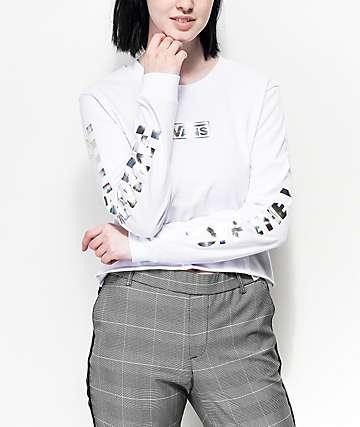 Vans Iridescent Box White Long Sleeve Crop T-Shirt
