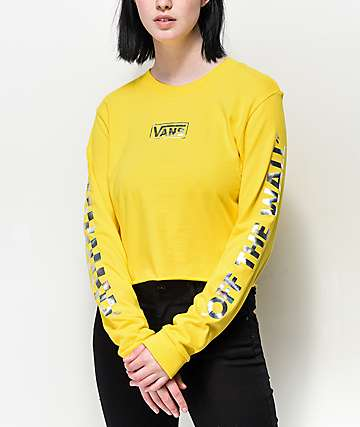 Vans Iridescent Box Yellow Long Sleeve Crop T-Shirt