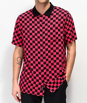 Vans Jazzy Camp Black & Pink Checkerboard Short Sleeve Button Up Shirt