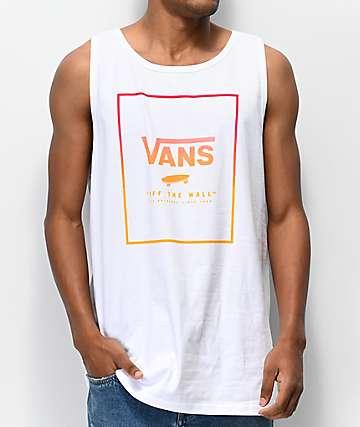 Vans Jazzy Print Box White, Red & Orange Tank Top