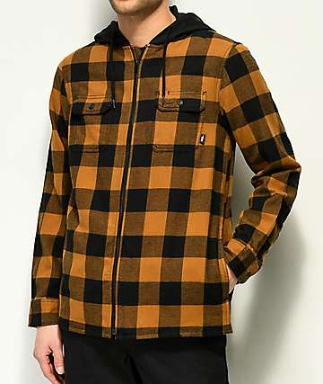 Vans Kenton Zip Hooded Brown & Black Hooded Flannel Shirt