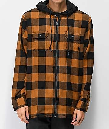 Vans Kenton camisa de franela marrón y negro con capucha