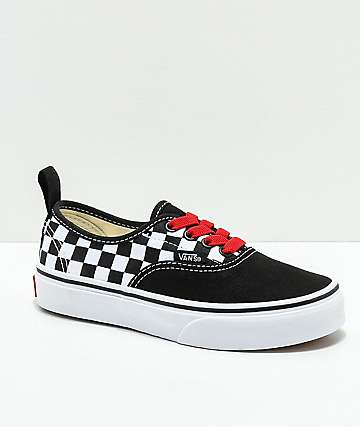 Vans Kids Authentic Black, Red & White Checkerboard Shoes