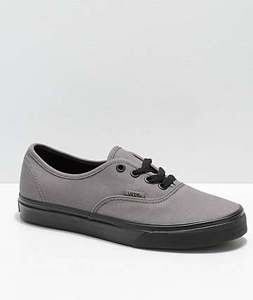 Vans Kids Authentic Black Pewter Canvas Skate Shoes