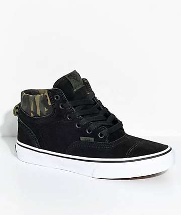 Vans Kids Era Hi Black & Camo Suede Skate Shoes