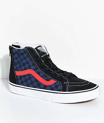 Vans Kids Sk8-Hi Checkerboard Zippered Skate Shoes