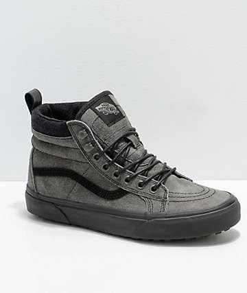 9d6f0922b5 Vans Kids Sk8-Hi MTE Grey   Black Denim Suede Shoes