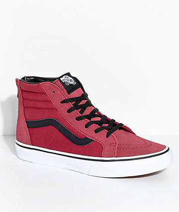 Vans Kids Sk8-Hi Tibetan Red Zippered Skate Shoes