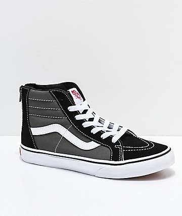 Vans Kids Sk8-Hi Zippered Black, Charcoal & White Skate Shoes
