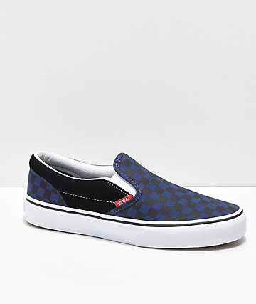 Vans Kids Slip-On Blue & Black Checkerboard Skate Shoes