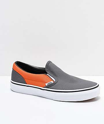 Vans Kids Slip-On Pewter & Flame Orange Skate Shoes