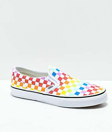 Vans Kids Slip-On Rainbow Checkerboard Skate Shoes