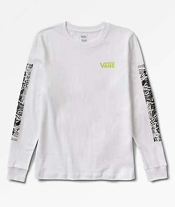 Vans Lady Vans Block Rockin  DIY White Long Sleeve T-Shirt