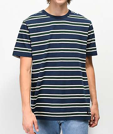 Vans Lansing Navy & Green Striped T-Shirt