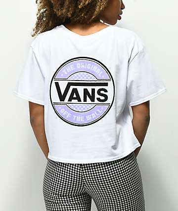 Vans Lavender Circle Check White Crop T-Shirt