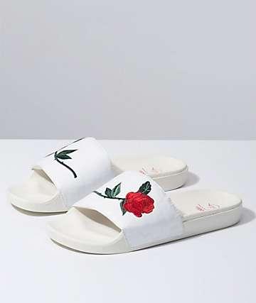 Vans Leila Hurst White Checker Slide Sandals