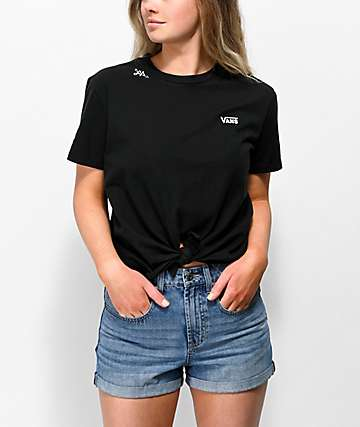 Vans Lizzie Knot Front Black & White T-Shirt