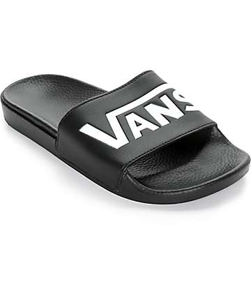 Vans Logo Black & White Slide-On Sandals
