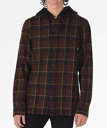 Vans Lopes Brown & Black Hooded Flannel Shirt