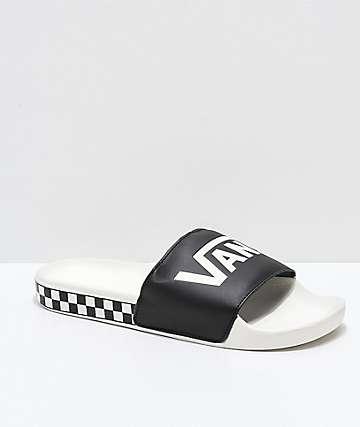 Vans Marshmallow sandalias a cuadros en negro y blanco