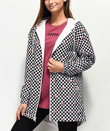 Vans Mercy Pink & Checkered Reversible Rain Jacket