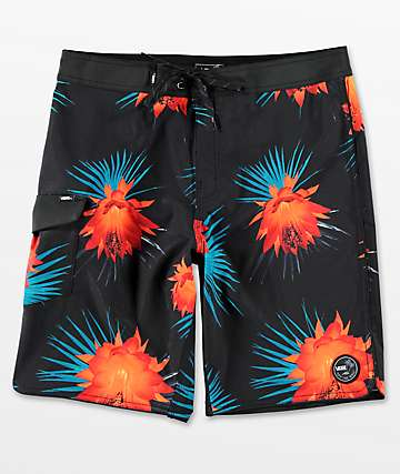 Vans Mixed Scallop Black & Floral Board Shorts