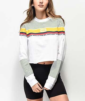 Vans Multicolor Stripe White Crop Long Sleeve T-Shirt