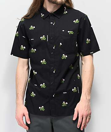 Vans Night Rose  Black Short Sleeve Button Up Shirt