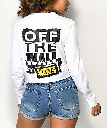 Vans OTW Ripped White Long Sleeve Crop T-Shirt