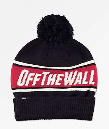 0b61909ad1d Vans Off The Wall Black   Chili Red Pom Beanie