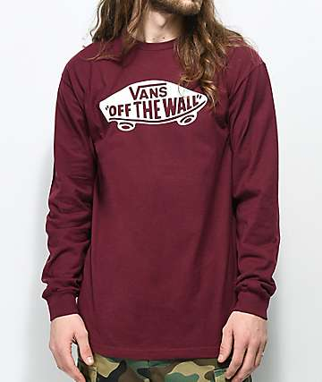 Vans Off The Wall Burgundy Long Sleeve T-Shirt