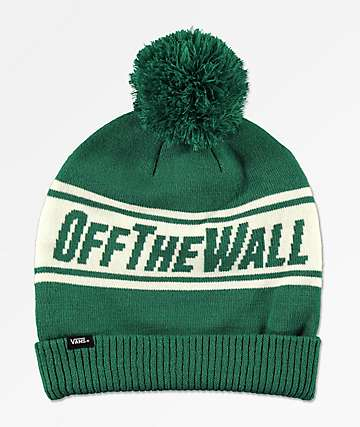 Vans Off The Wall Evergreen & White Pom Beanie