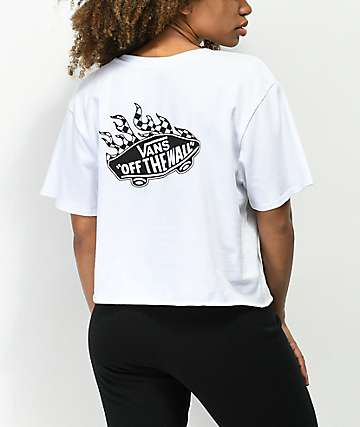 9d511d867a Vans Off The Wall Flame White Crop T-Shirt