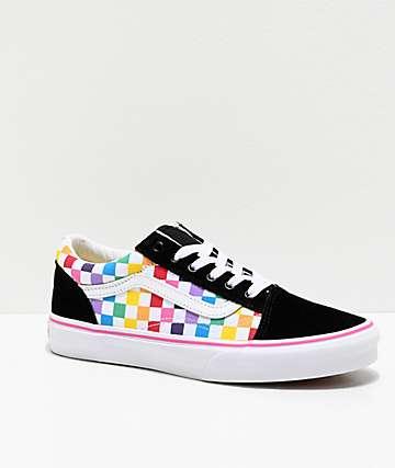 Vans Old Skool Black, Pink & Rainbow Checkerboard Skate Shoes